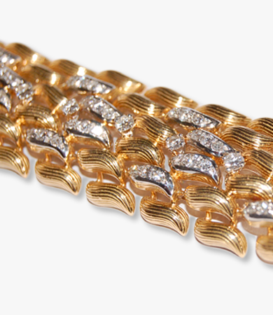 Yellow gold, platinum and diamonds '50s bracelet | Statement Jewels
