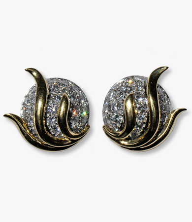A pair of white and yellow gold and diamond '70s earrings | Statement Jewels