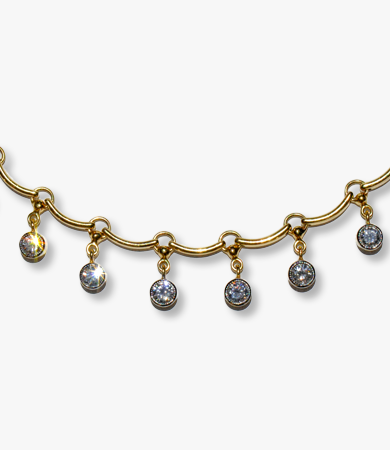 Yellow gold necklace with 8 brilliant cut diamonds | Statement Jewels