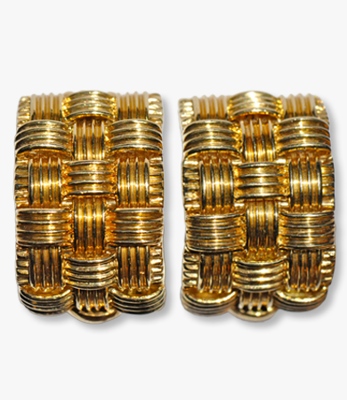 Woven yellow gold Italian ear clips/rings  | Statement Jewels