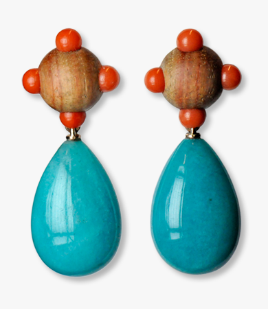 Bahia rose wood, coral and amazonite T.A.C. earrings | Statement Jewels