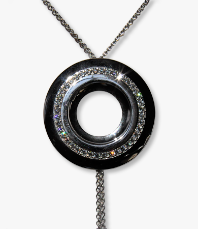 White gold and diamond Le Chic pendant+chain | Statement Jewels