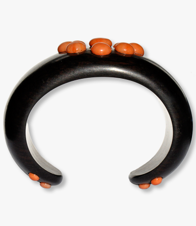 Yellow gold, coral & ebony T.A.C. bracelet | Statement Jewels