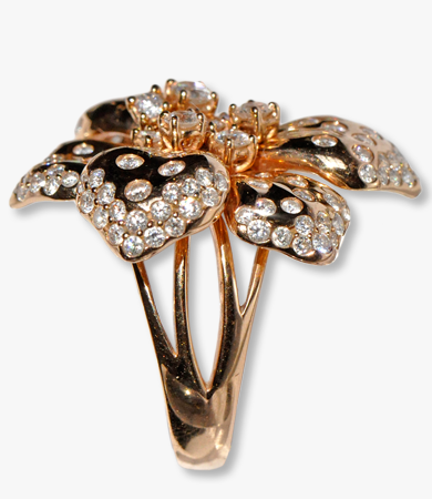 Rosé gold and diamonds Artur Scholl 'flower' ring | Statement Jewels