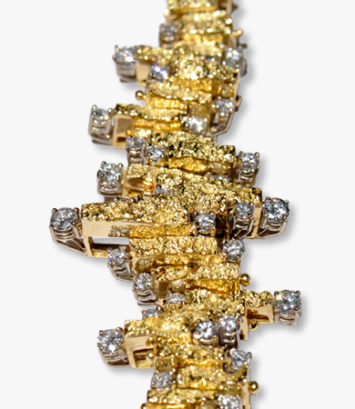 Yellow gold and diamonds '60s bracelet | Statement Jewels
