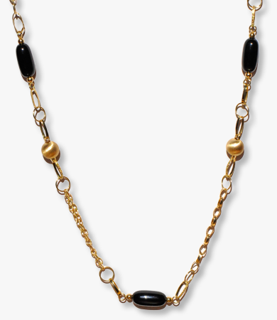 Yellow gold and onyx necklace by Homen | Statement Jewels