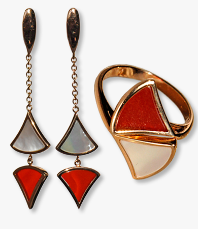 Rosé gold, red agate & mother-of-pearl earrings-ring Artur Scholl set | Statement Jewels