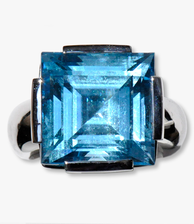 White gold & blue topaz Artur Scholl earrings & ring set | Statement Jewels