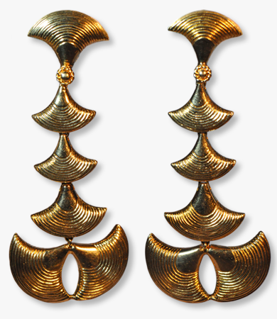 Yellow gold '70s German earrings | Statement Jewels