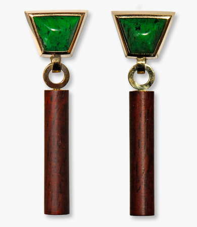 Yellow gold, jade and cocobolo wood T.A.C. earrings | Statement Jewels