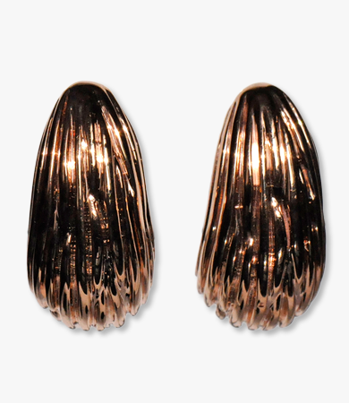 Rosé gold, ribbed, drop-form Artur Scholl earrings | Statement Jewels